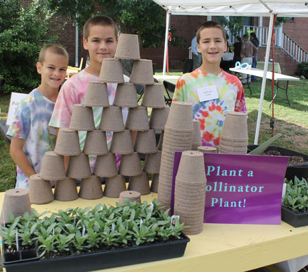 From left to right: Jeremiah, Josiah, and Jeshuah Lewis at Pollinator Day